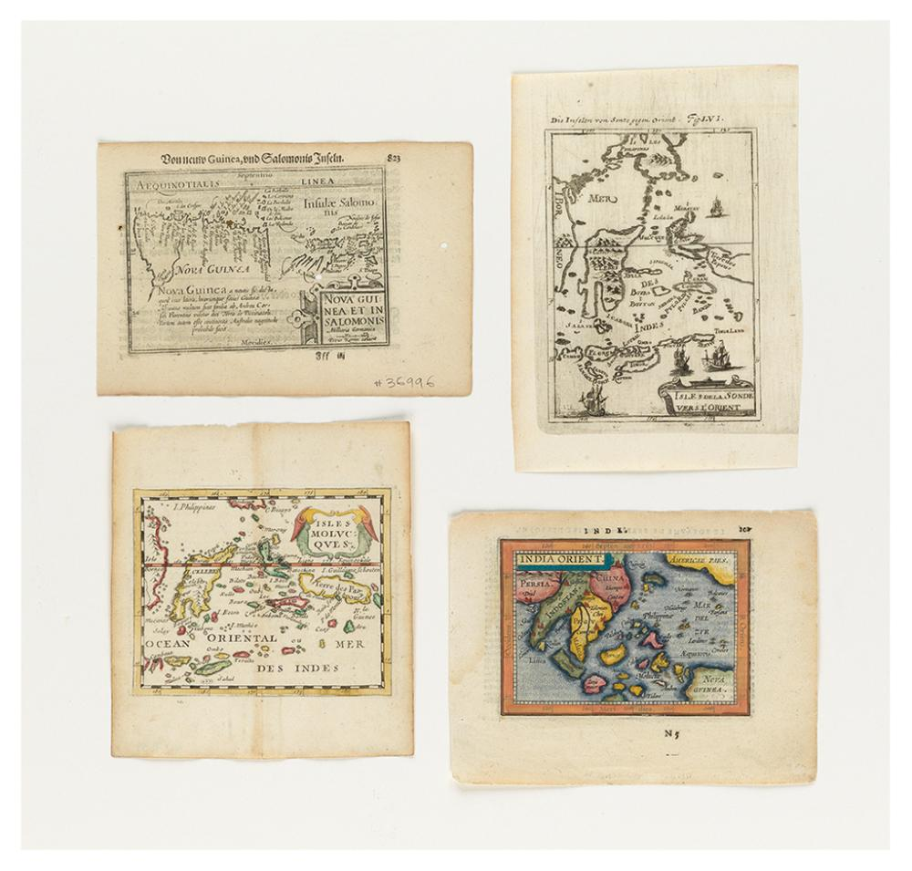 (SPICE ISLANDS) Group of four miniature engraved maps relating to the Spice Islands.