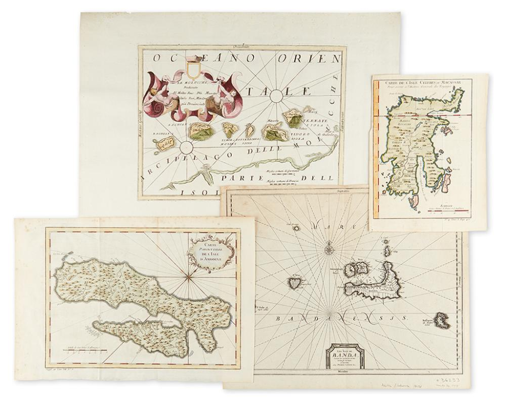 (SPICE ISLANDS.) Group of four small scale engraved maps relating to the Spice Islands.