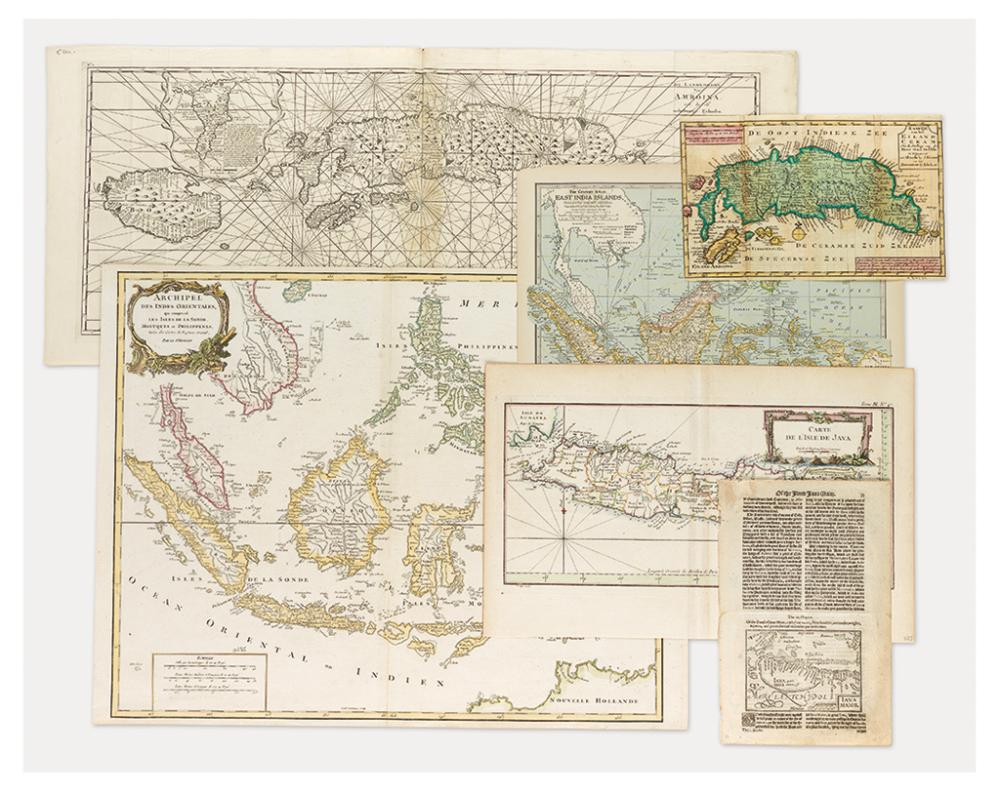 (SPICE ISLANDS). Group of six mostly engraved maps relating to the Spice Islands.