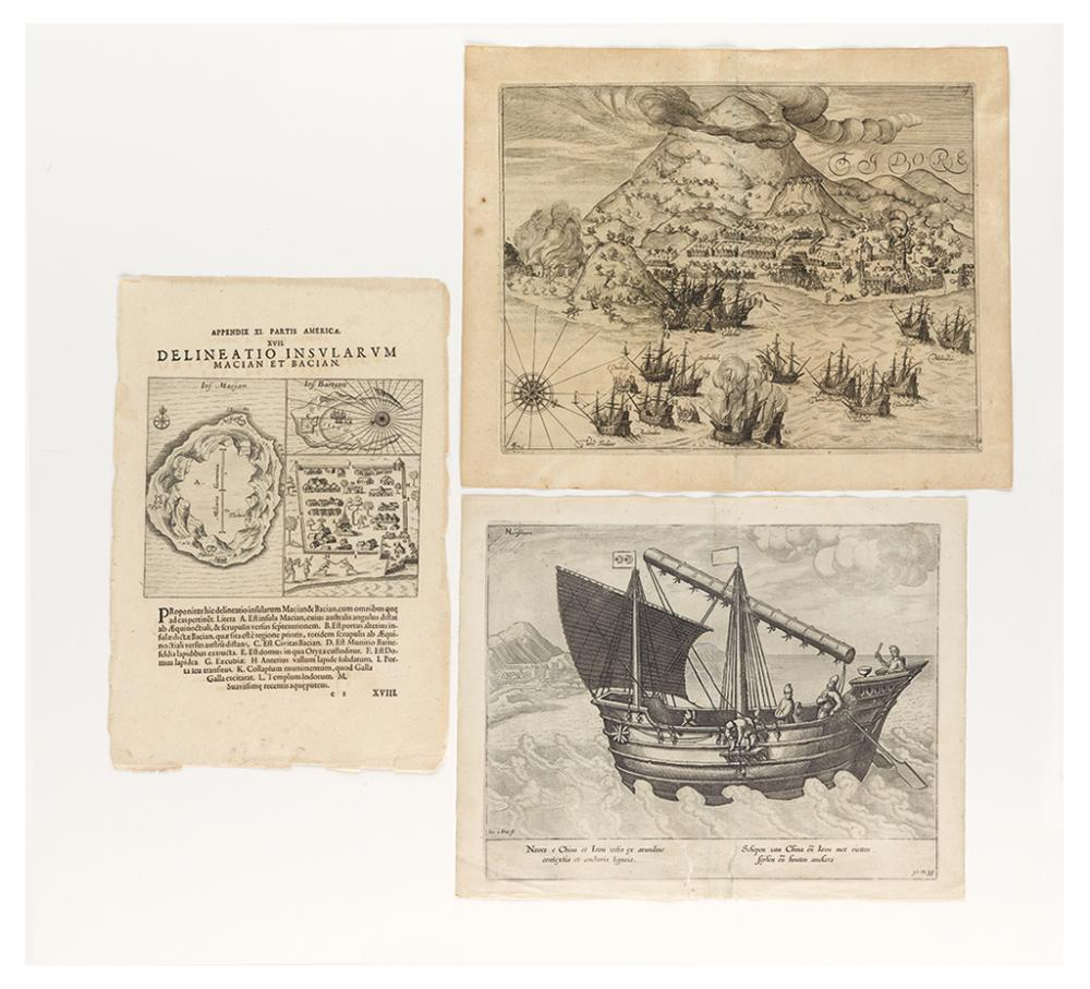 (SPICE ISLANDS). Group of three engravings relating to the Spice Islands.