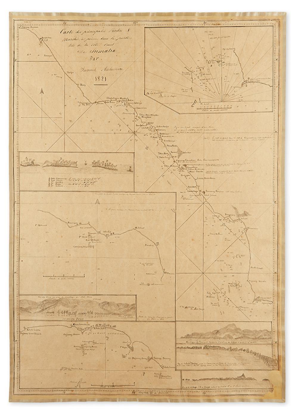 (SUMATRA - MANUSCRIPT MAP.) Ashmore, Samuel. Carte des Principales Rades & Marches a Poivre dans la Partie Nord