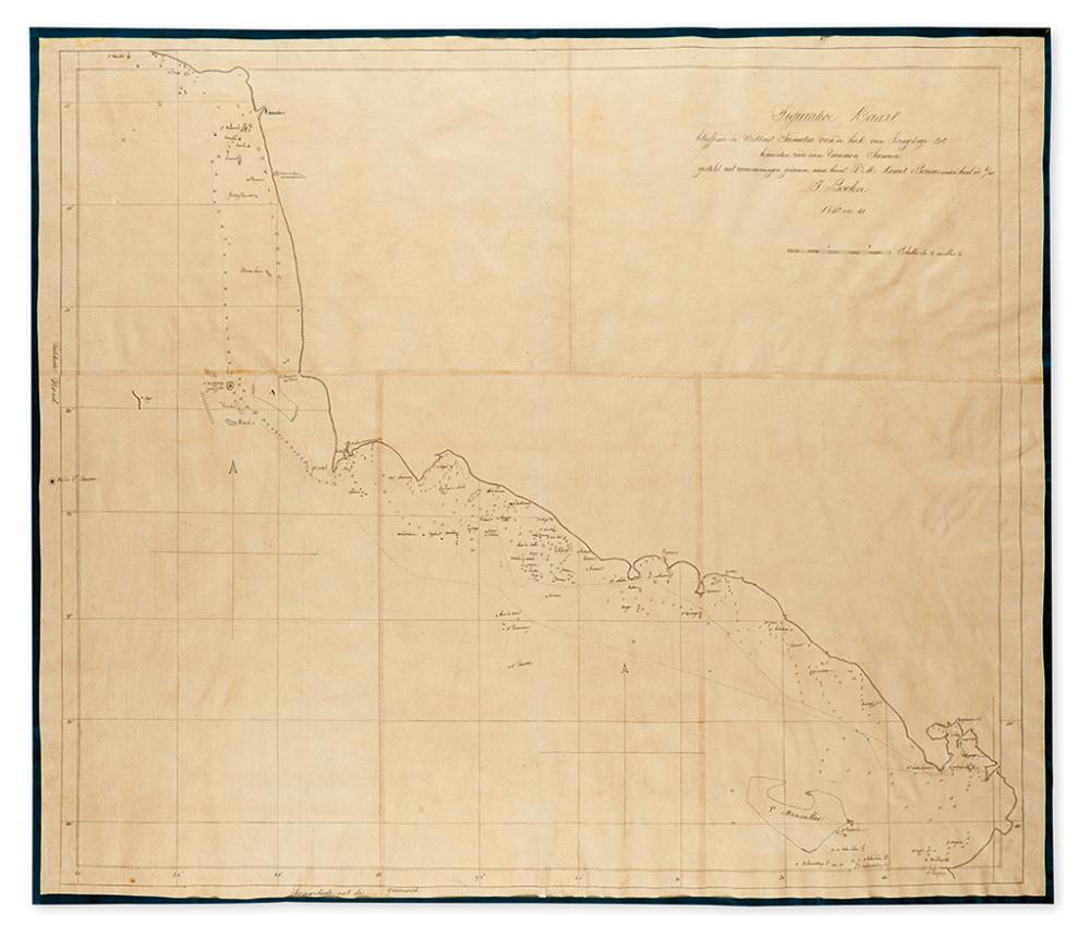 (SUMATRA - MANUSCRIPT MAP.) Boelen, J. Figurative Kaart betreffende de Westkust Sumatra van de hoek van Langkap tot benoorden reede