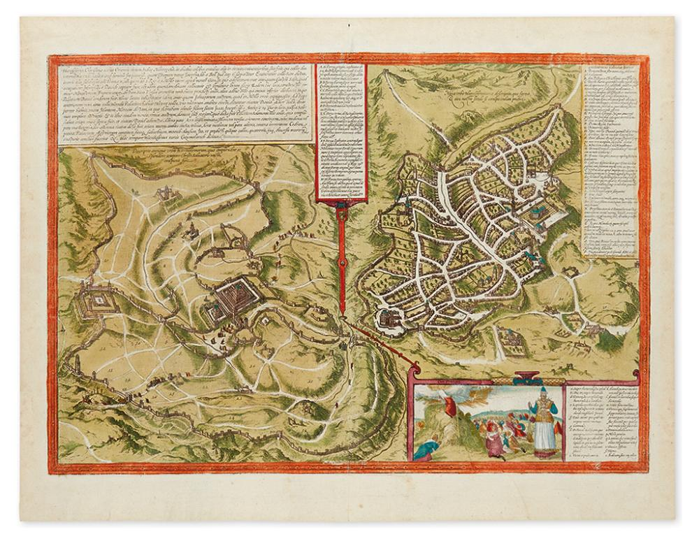 (HOLY LAND.) Braun, Georg; and Hogenberg, Franz. Hierosolyma, Clarissima totius Orientis Civitas, Judaee Metropolis.