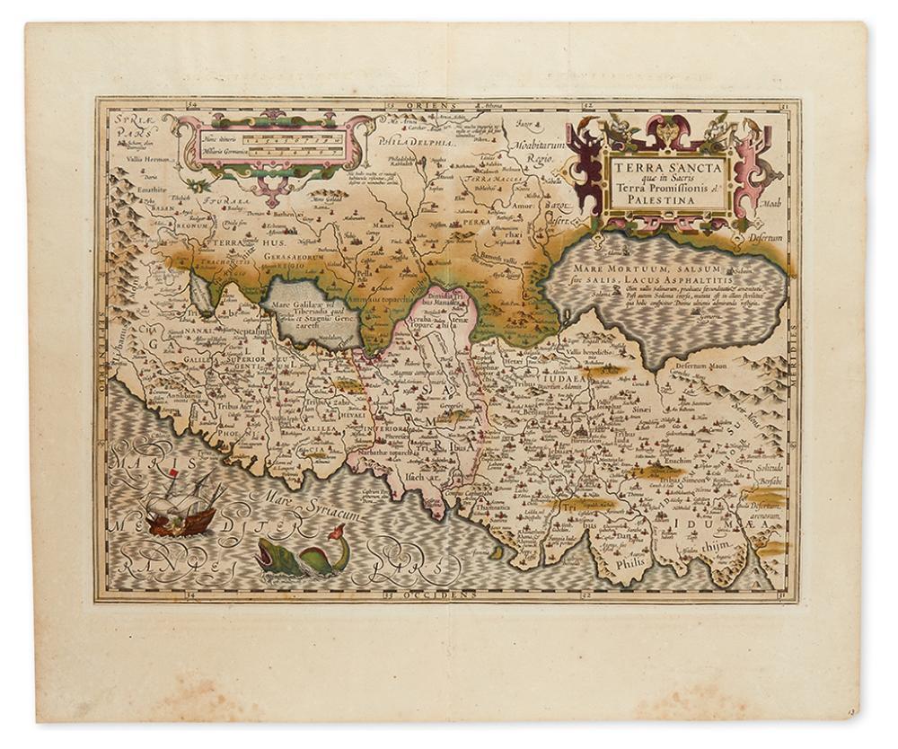 (HOLY LAND.) Mercator, Gerard. Terra Sancta quae in Sacris Terra Promissionis ol: Palestina.