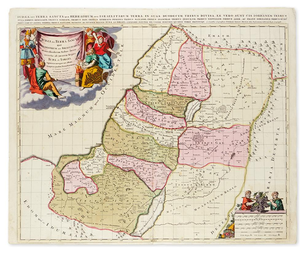 (HOLY LAND.) Sanson, Gulielmi; and Schenk, Pierre. Judaea seu Terra Sancta quae Hebraeorum sive Israelitarum.