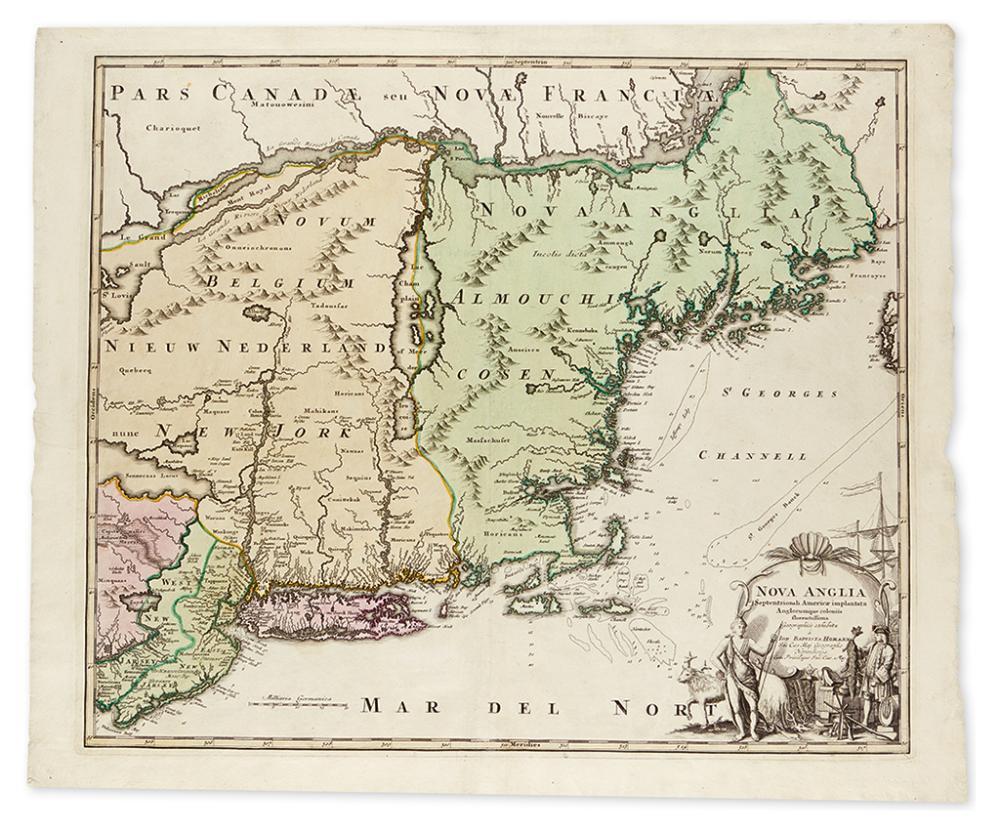 HOMANN, JOHANN BAPTIST. Nova Anglia Septentrionali Americae implantata Anglorumque coloniis florentissima Geographicice exhibita.