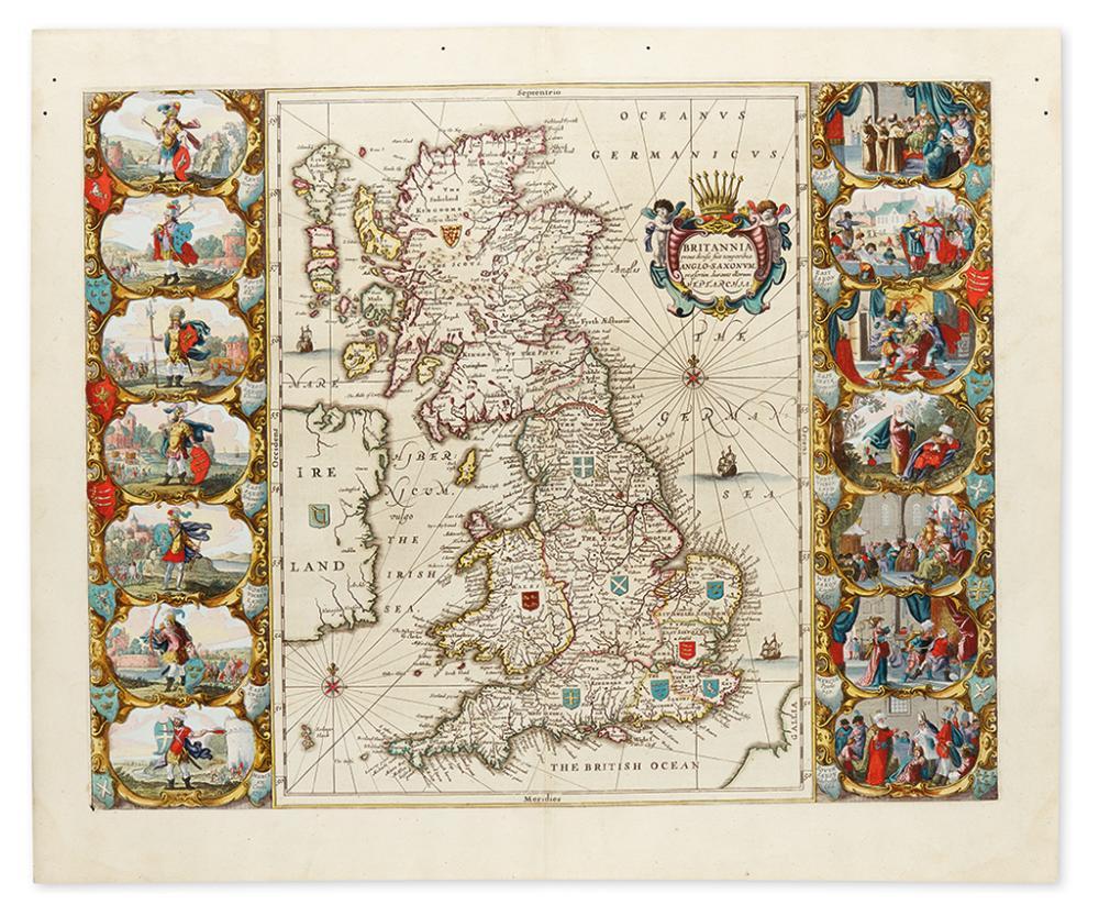 JANSSONIUS, JOHANNES. Britannia prout divisa suit temporibus Anglo-Saxonum, praesertim durante illorum Heptarchia.