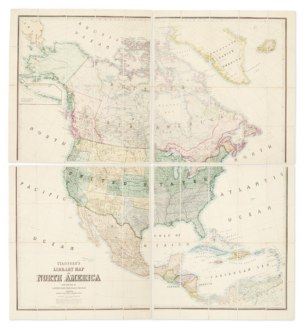 JOHNSON, A. KEITH; and STANFORD, EDWARD. Stanford''s Library Map of North America.