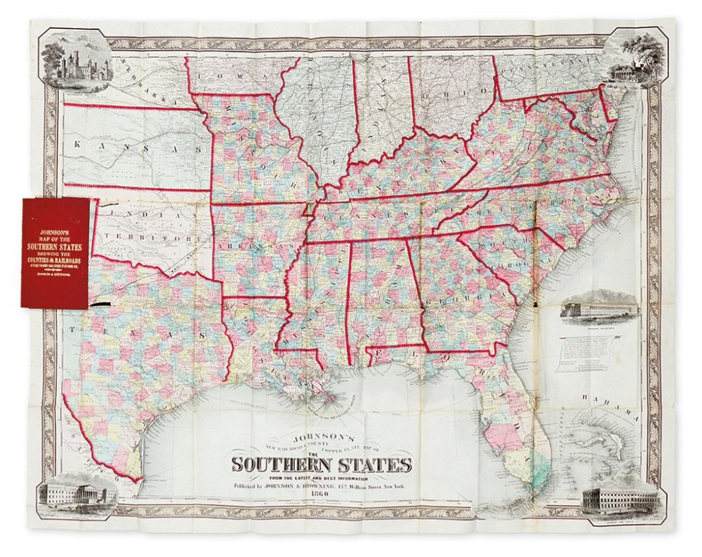JOHNSON & BROWNING. Johnson''s New County and Railroad Copperplate Map of the Southern States.