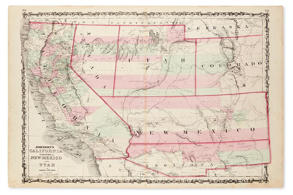 JOHNSON AND WARD. Johnson''s California / Territories of New Mexico and Utah.