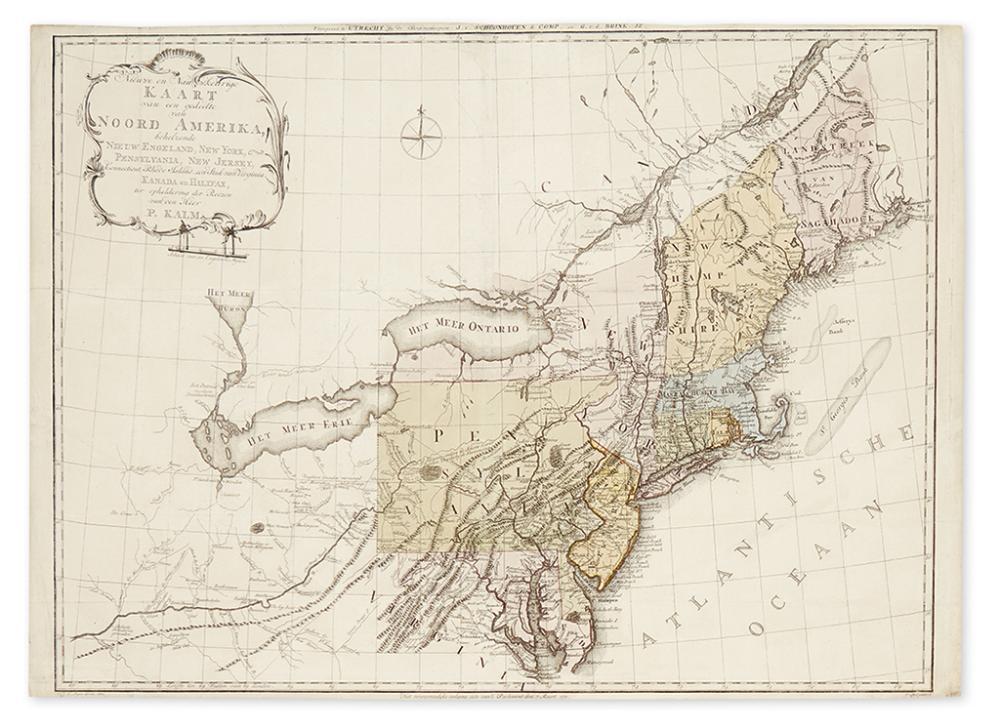 KALM, PETER. Nieuwe en Nauwkeurige Kaart van een gedeelte van Noord Amerika, Behelzende Nieuw Engeland, New York,