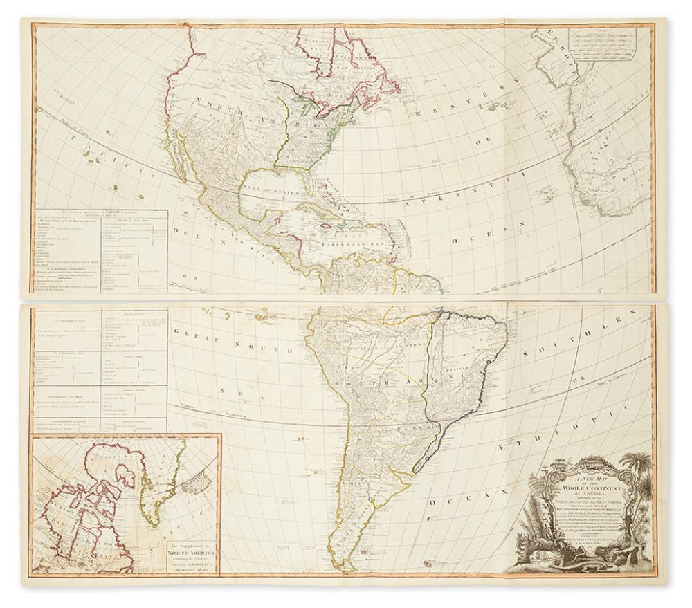 LAURIE, ROBERT; and WHITTLE, JAMES. A New Map of the Whole Continent of America, divided into North and South and West Indies,