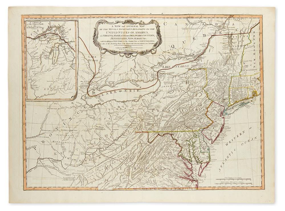 LAURIE, ROBERT; and WHITTLE, JAMES. A New and General Map of the Middle Dominions of Belonging to the United States of America,
