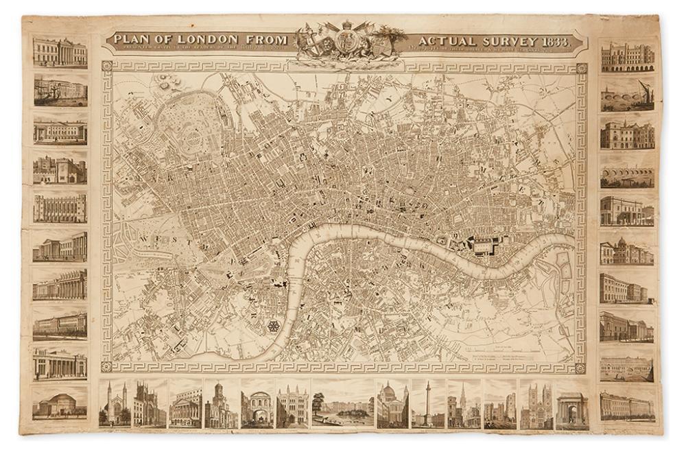 (LONDON.) Shury, John. Plan of London From Actual Survey 1833.