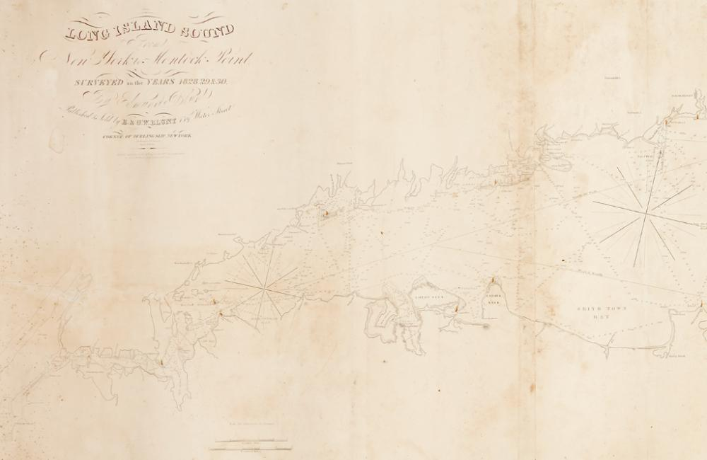 (LONG ISLAND SOUND.) Blunt, Edmund. Long Island Sound from New York to Montock Point. Surveyed in the Years 1828, 29 & 30.