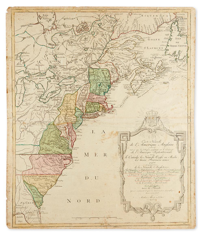 LOTTER, MATHIAS ALBRECHT. Carte Nouvelle de L''Amerique Angloise contenant tout ce que les Anglois possedent sur le Continent