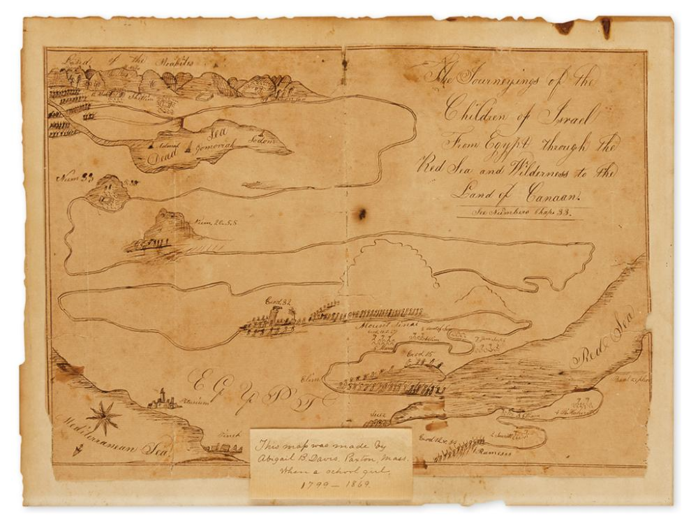 (MANUSCRIPT SCHOOL MAP.) Davis, Abigail B. The Journeyings of the Children of Israel from Egypt through the Red Sea