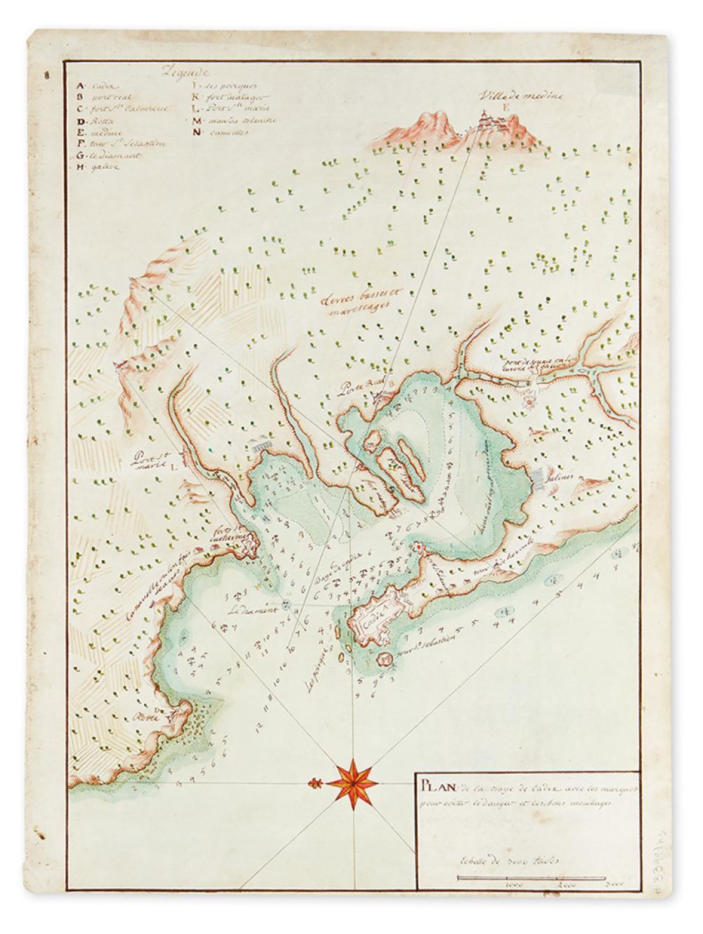 (MANUSCRIPT MAP.) Plan de la Baye de Cadiz avec les marques pour eviter le danger et les bons mouillages.