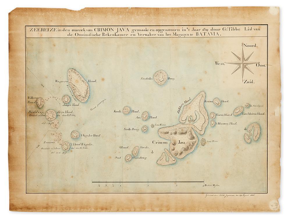 [MANUSCRIPT MAP.] Zeereize in den omtrek van Crimon Java gemaakt en opgenomen in''t Jaar 1812 door G: Tibbe Lid van de Oostimdische
