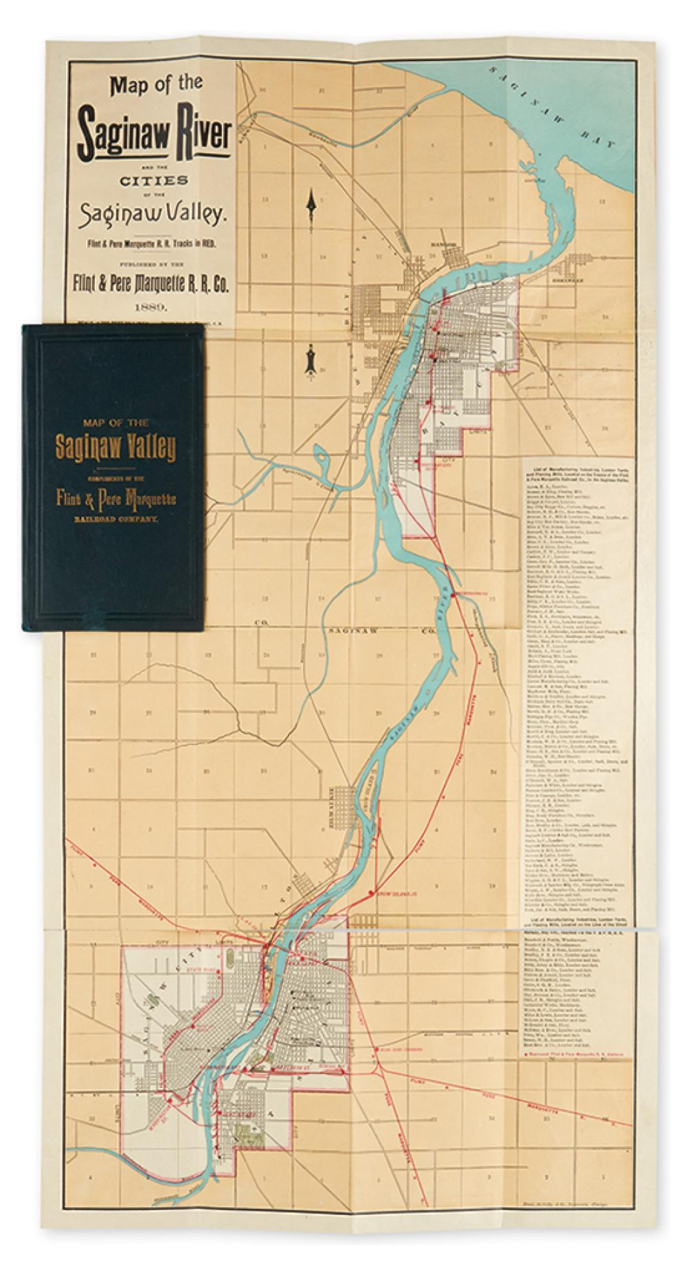 (MICHIGAN.) Flint & Pere Marquette Railroad Company. Map of the Saginaw River and the Cities of the Saginaw Valley.