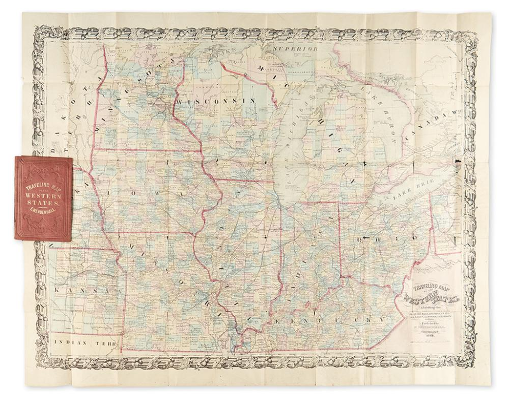 (MIDWEST.) Mendenhall, E[dward] (pub). Traveling Map of the Western States Exhibiting the Counties, Towns, Villages, the Rail Ways,