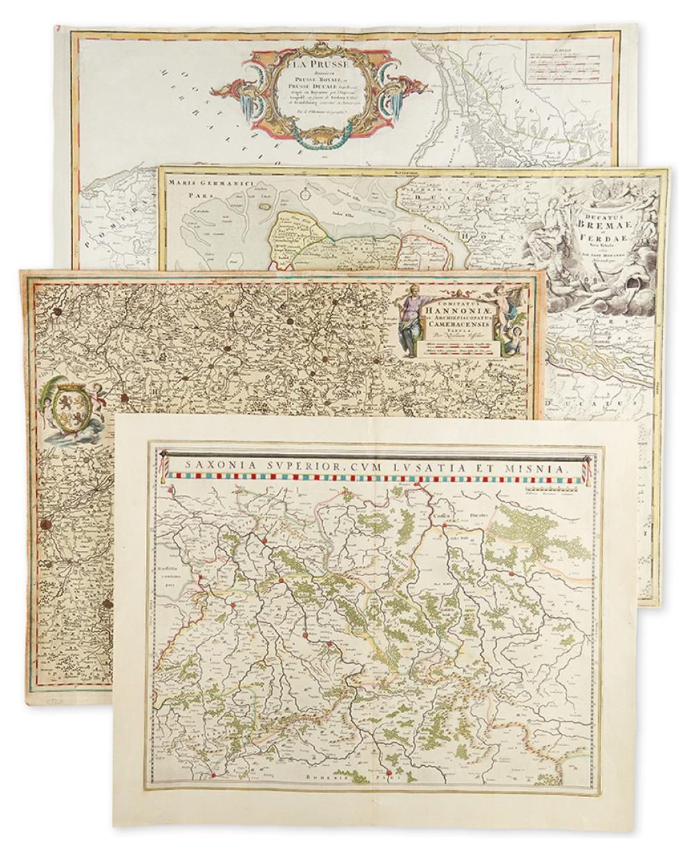 (MISCELLANEOUS MAPS.) Four double-page engraved folio maps.