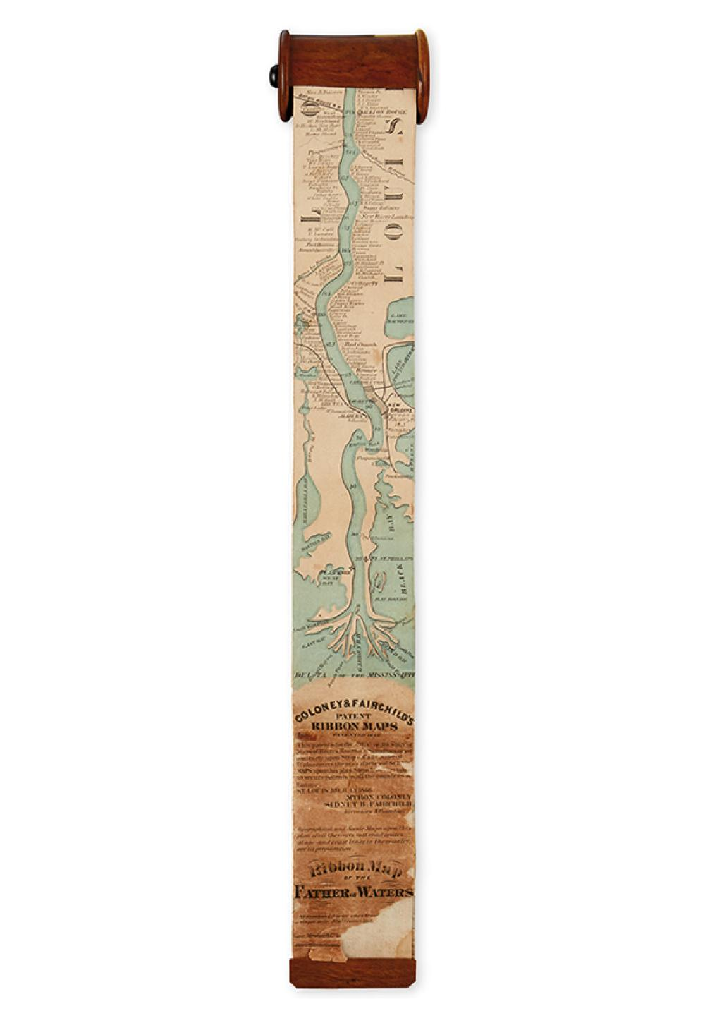 (MISSISSIPPI RIVER). Coloney, Myron; and Fairchild, Sidney B. Ribbon Map of the Father of Waters.
