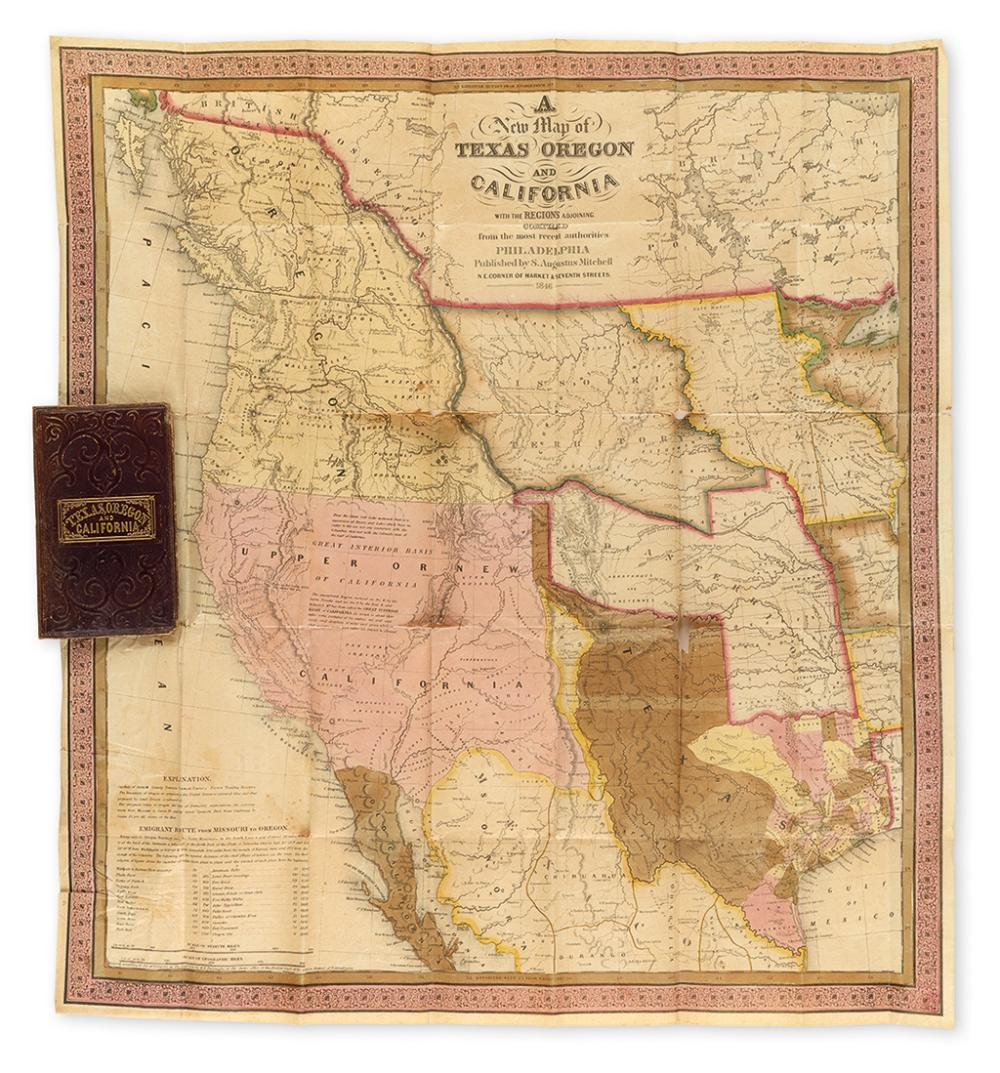 MITCHELL, S. AUGUSTUS. A New Map of Texas, Oregon and California.