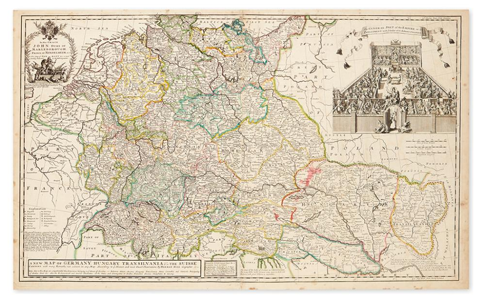 MOLL, HERMAN. New Map of Germany, Hungary, Transilvania & the Suisse Cantons, with many Remarks not extant in any map.