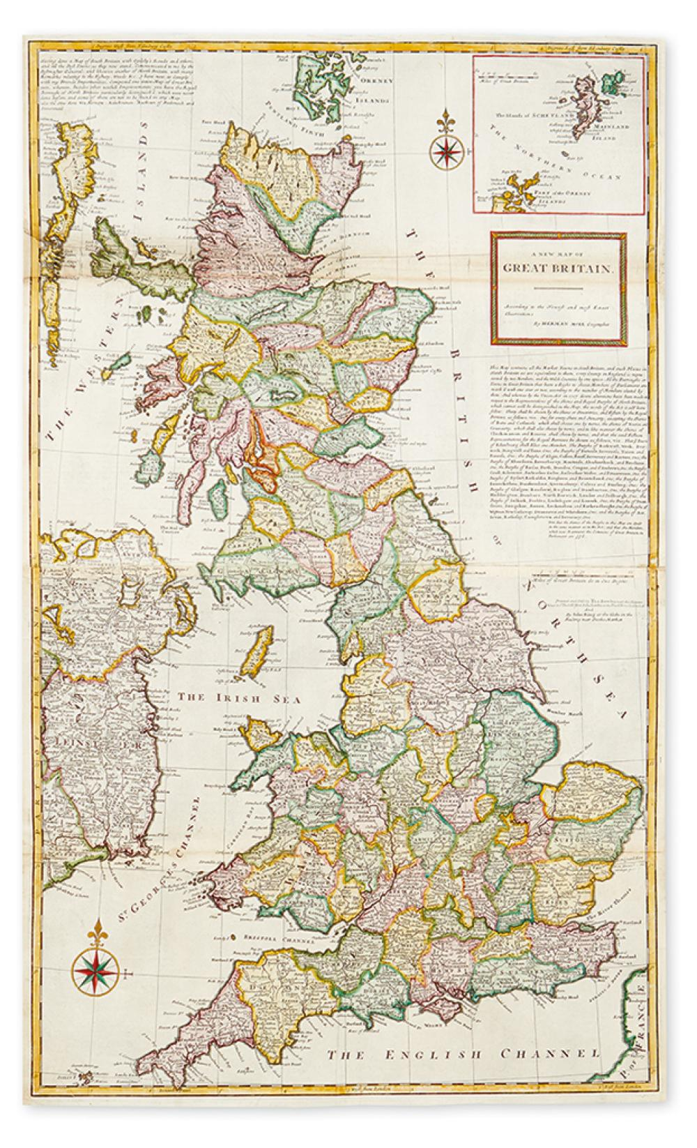 MOLL, HERMAN. A New Map of Great Britain.