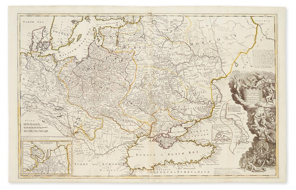 MOLL, HERMAN. To his Most Serene and August Majesty Peter Alexovitz, Absolute Lord of Russia &c. This Map of Moscovy, Poland,