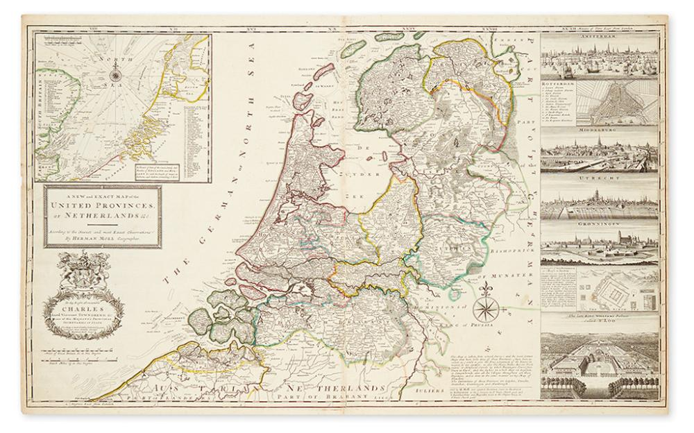 MOLL, HERMAN. A New and Exact Map of the United Provinces, or Netherlands &c.