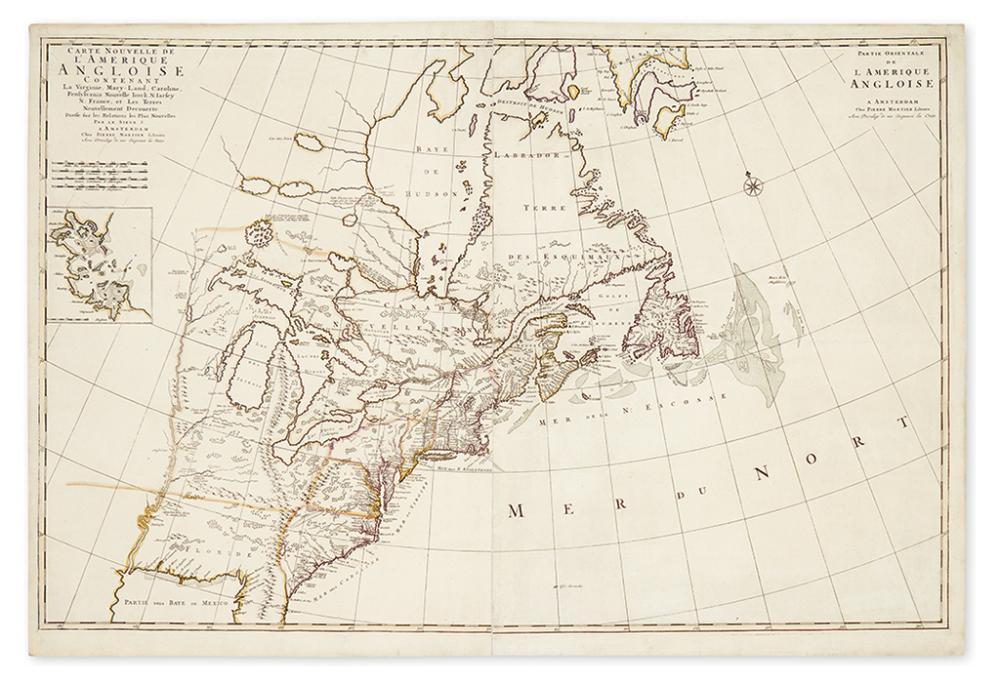 MORTIER, PIERRE. Carte Nouvelle de l''Amerique Angloise Contenant la Virginie, Mary-Land, Caroline, Pensylvania, Nouvelle Iorck,