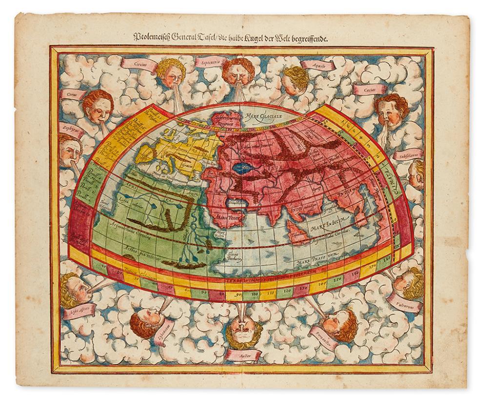 MÜNSTER, SEBASTIAN. Ptolemeisch General Tafel / die halbe Kugel der Welt begreissende.