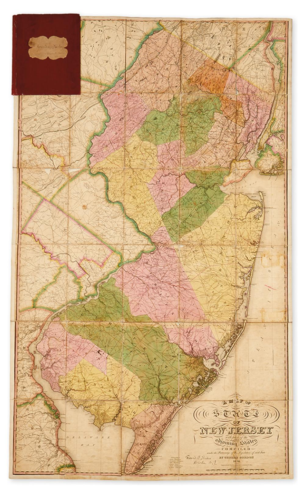 (NEW JERSEY.) Gordon, Thomas. A Map of the State of New Jersey with Part of the Adjoining States.
