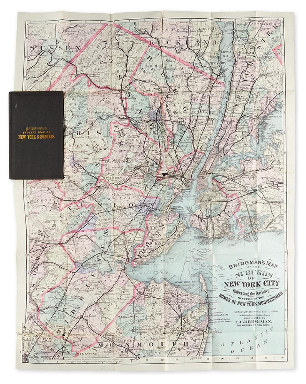 (NEW YORK.) Bridgman, E. C. Bridgman''s Map of the Suburbs of New York City