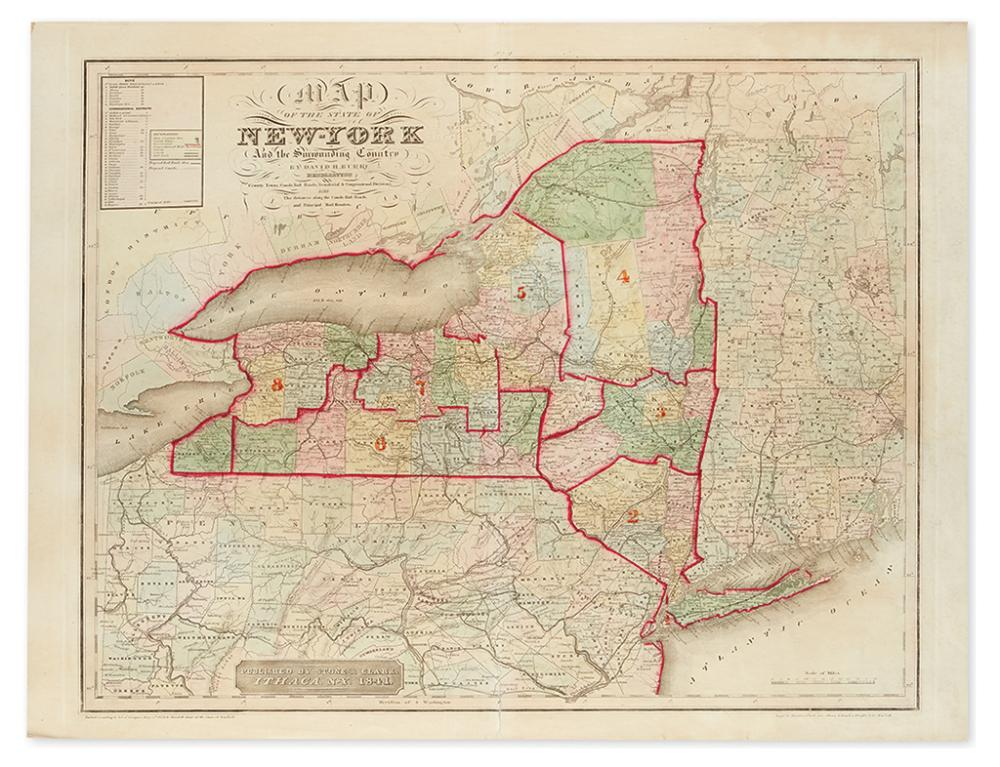 (NEW YORK.) Burr, David. Map of the State of New York and the Surrounding Country.