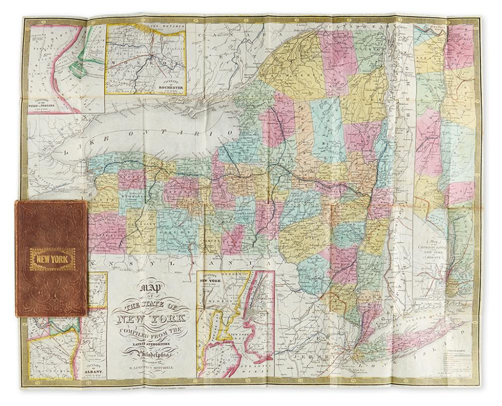 (NEW YORK.) Mitchell, S. Augustus. A Map of the State of New York Compiled from the Latest Authorities.