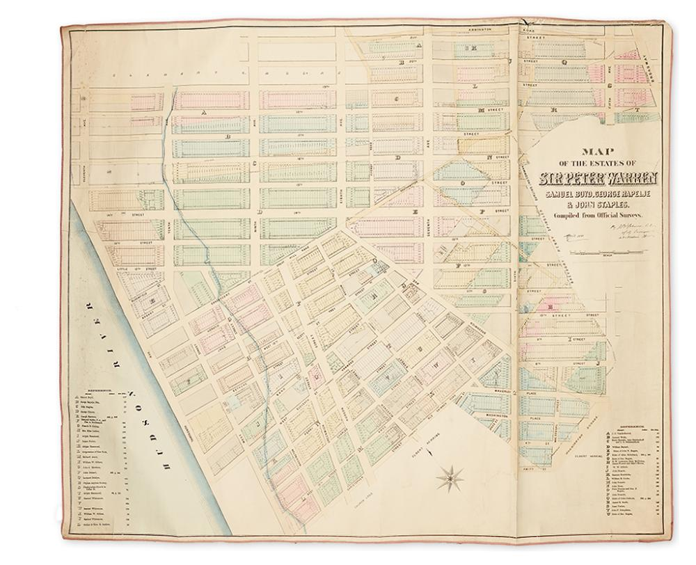 (NEW YORK CITY.) Holmes, John Bute. Map of the Estates of Sir Peter Warren, Samuel Boyd, George Rapelje & John Staples,