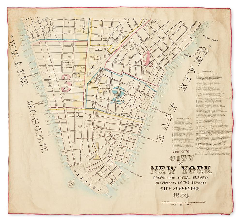 (NEW YORK CITY.) A Part of the City of New York Drawn from Actual Surveys as Furnished by the Several City Surveyors 1834.