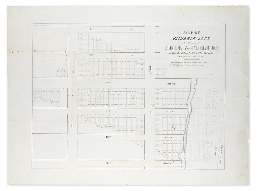 (NEW YORK CITY.) Map of Valuable Lots to be Sold at Auction by Cole & Chilton on Thursday 11th April 1850