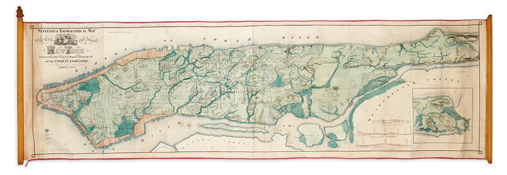 (NEW YORK CITY.) Viele, Egbert. Sanitary and Topographical Map of the City and Island of New York