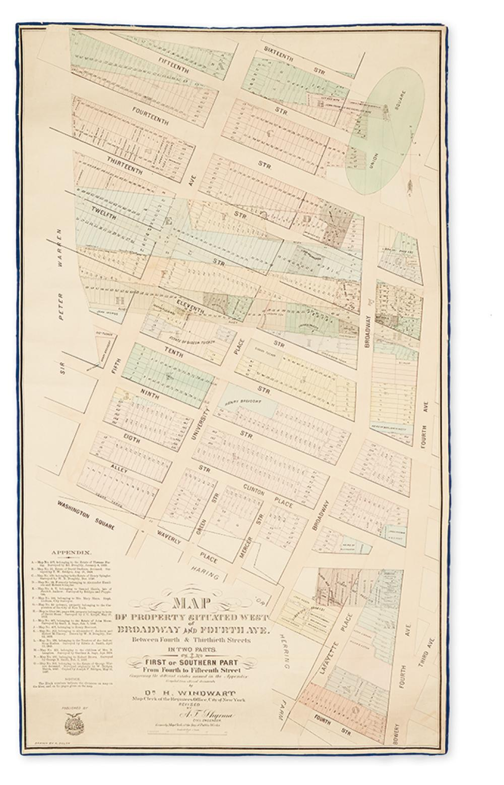 (NEW YORK CITY.) Windwart, Dr. H. Map of Property Situated West of Broadway and Fourth Ave. Between Fourth & Thirtieth Streets.