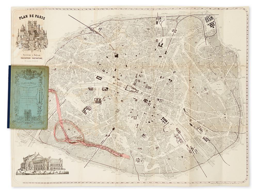 (PARIS.) Choqueuse, J. Plan de Paris a Ruban, Indicateur des Rues, Places, Brevete S.G.D.C.