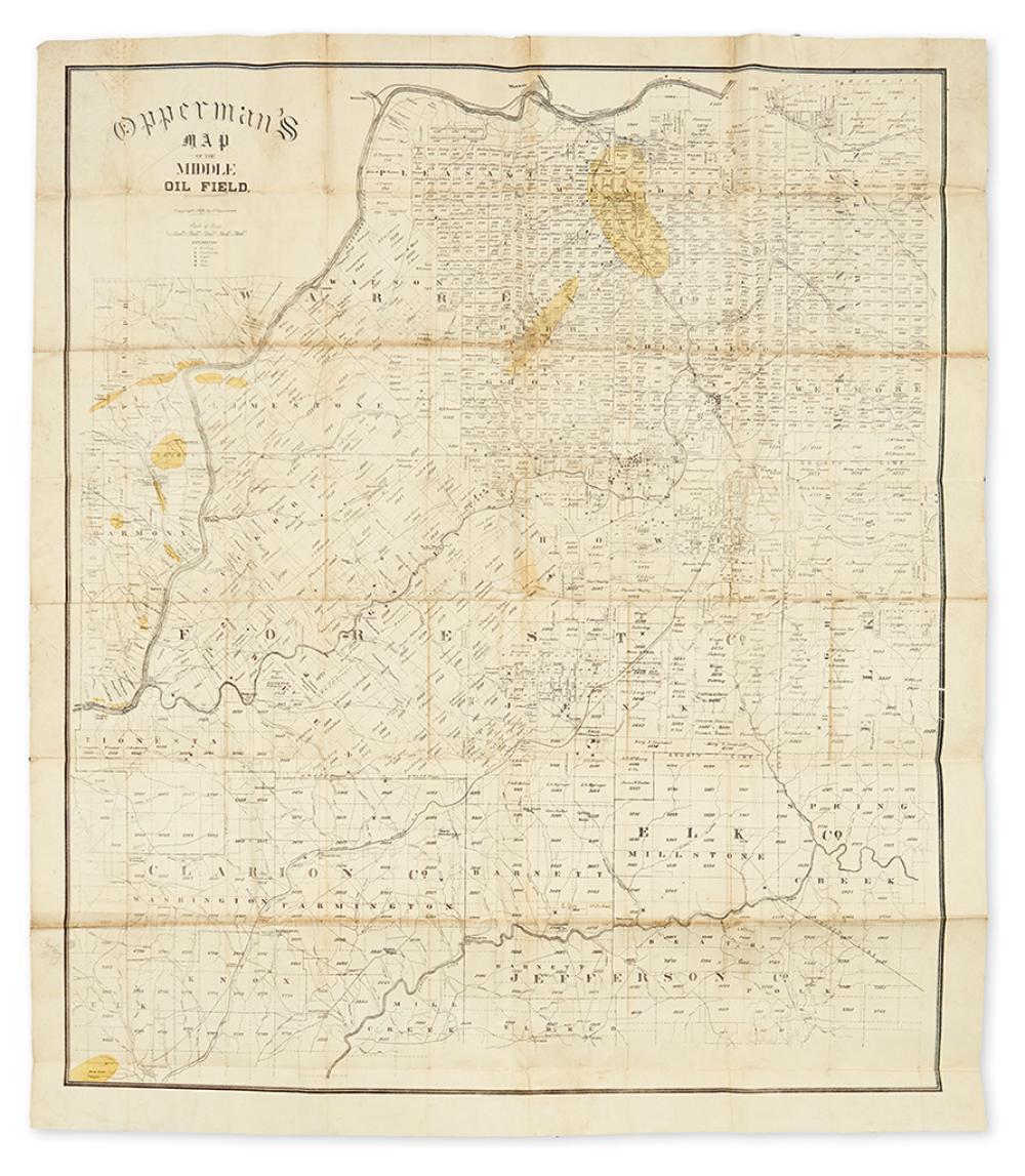 (PENNSYLVANIA - PETROLEUM.) Opperman, J. Opperman''s map of the Middle Oil Field.