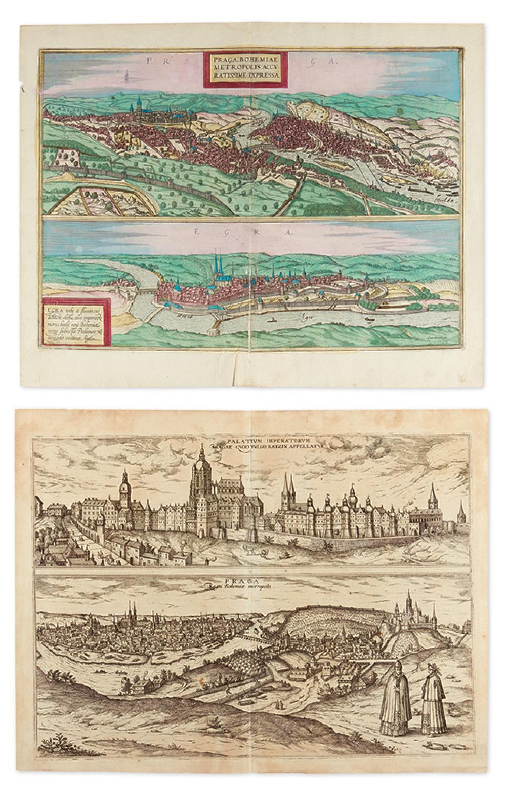 (PRAGUE.) Braun, Georg; and Hogenberg, Franz. Praga, Bohemiae Metropolis Accuratissime Expressa/Egra * Palatium Imperatorum Pragae/