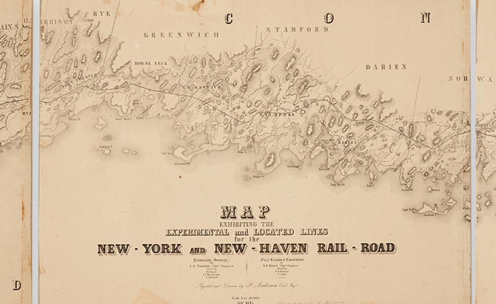 (RAILROADS.) Anderson, P. Map Exhibiting the Experimental and Located Lines for the New-York and New-Haven Rail-Road.