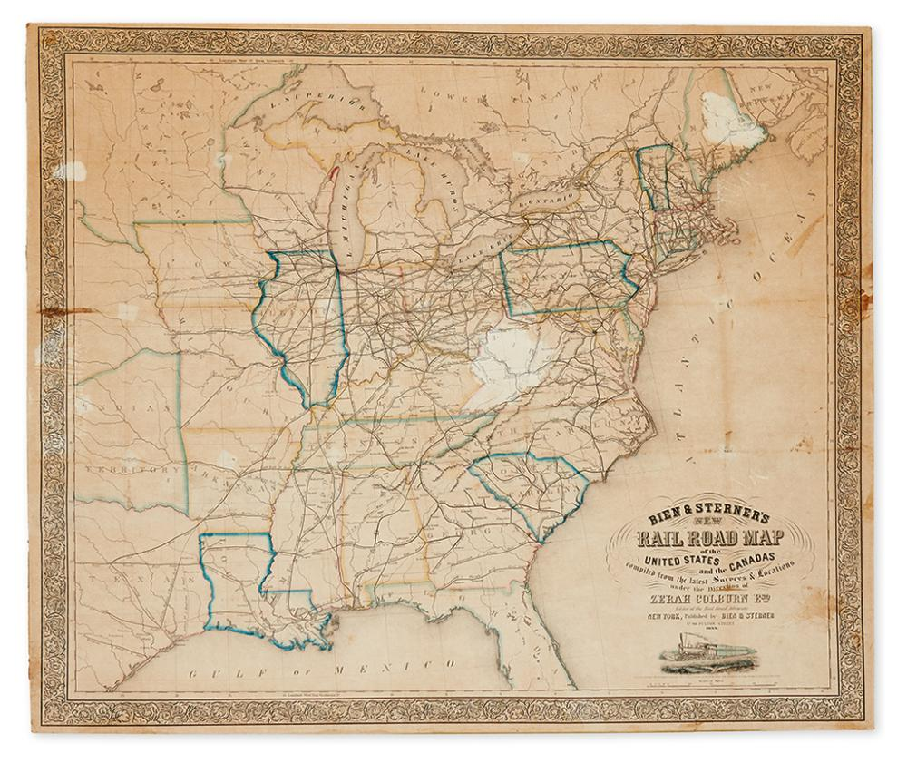 (RAILROADS.) Bien & Sterner. New Rail Road Map of the United States and the Canadas.