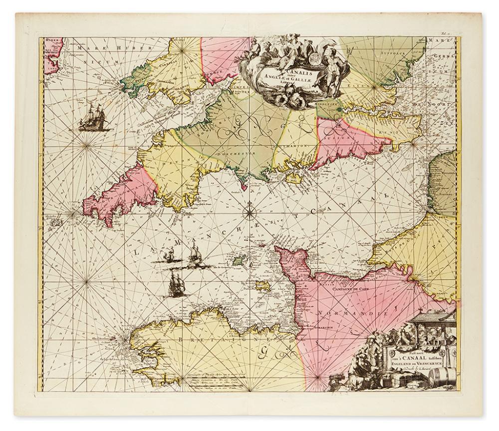 RENARD, LOUIS. Canalis inter Angliæ et Galliæ Littora. Pasecaert van''t Canaal tusschen Engeland en Vranckryck.