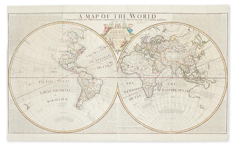 SENEX, JOHN. A Map of the World Corrected from the Observations Communicated to the Royal Societys.
